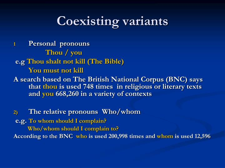 Coexisting variants