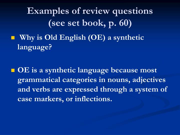 Examples of review questions