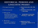 historical periods and linguistic phases