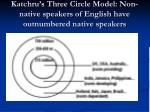 katchru s three circle model non native speakers of english have outnumbered native speakers