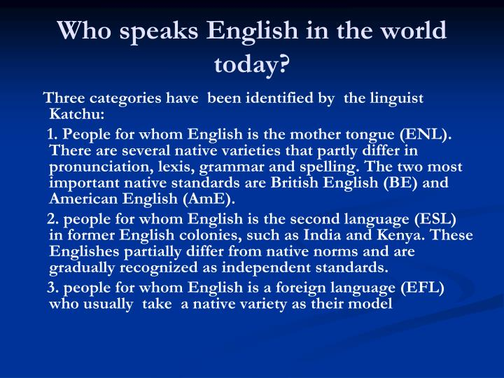 Who speaks English in the world today?