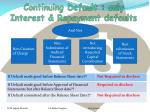 continuing default only interest repayment defaults