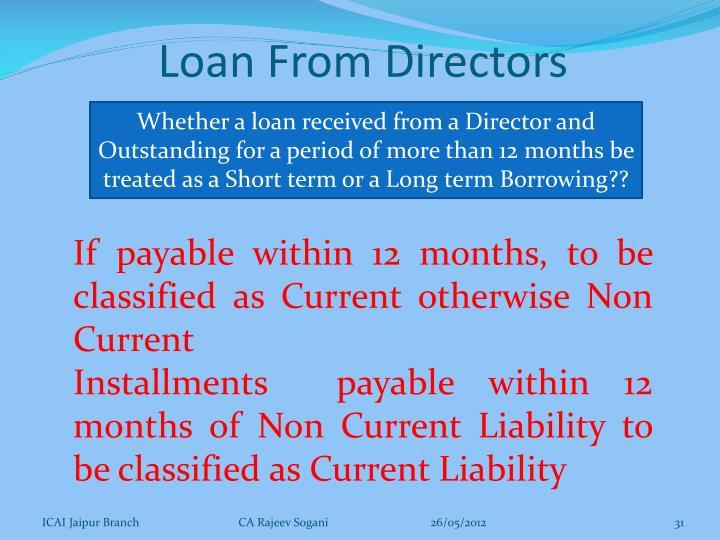 Loan From Directors