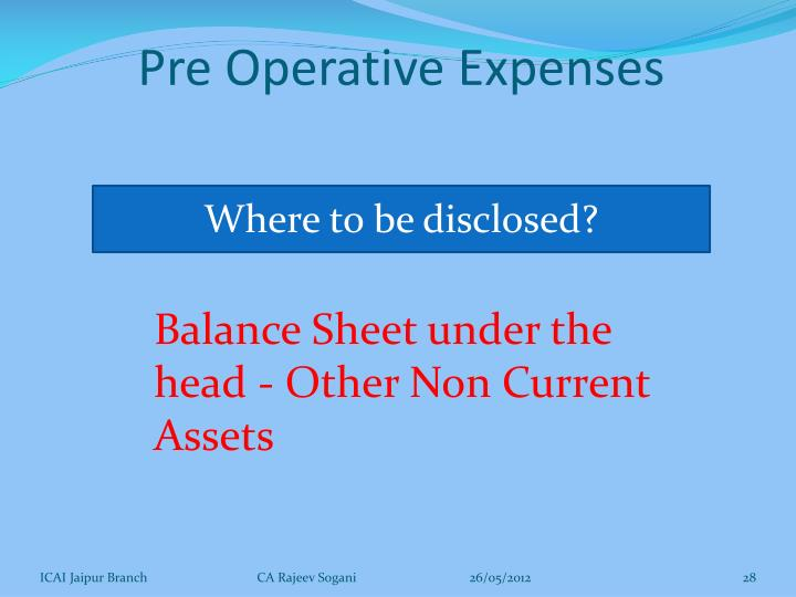Pre Operative Expenses