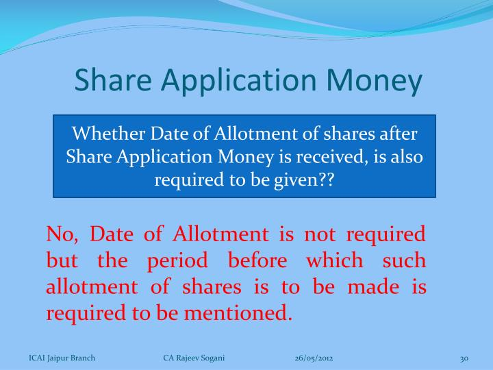 Share Application Money