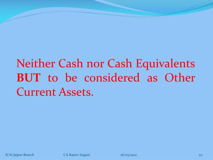 Neither Cash nor Cash Equivalents
