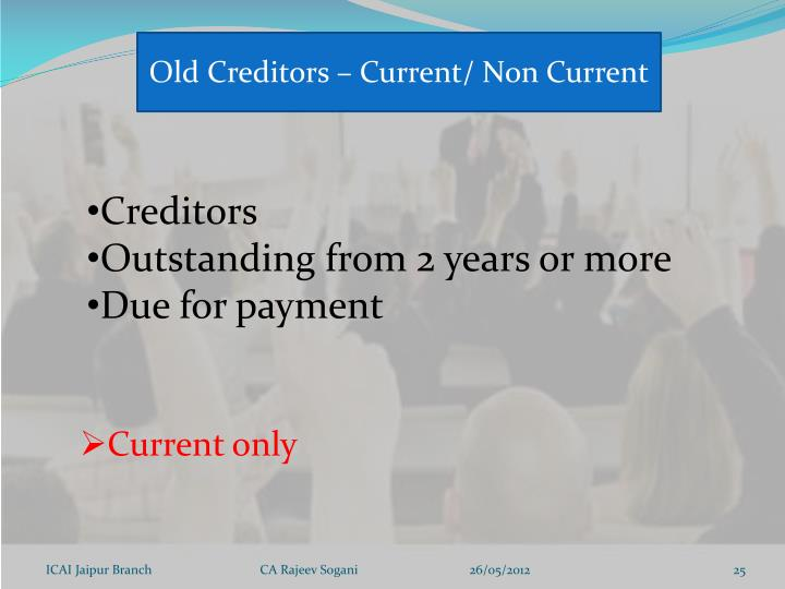 Old Creditors – Current/ Non Current