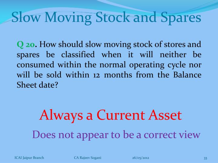 Slow Moving Stock and Spares