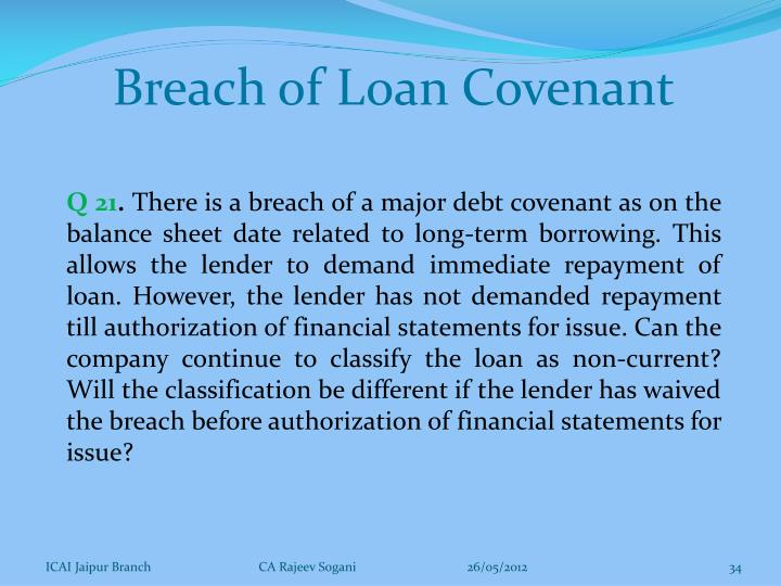 Breach of Loan Covenant