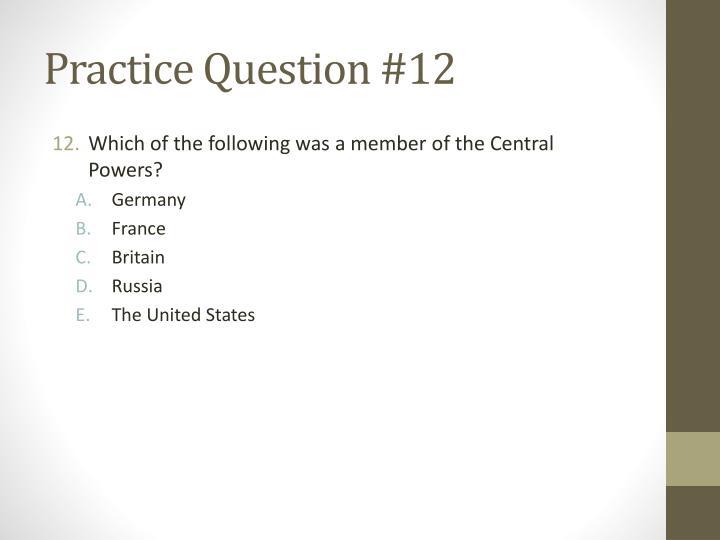 Practice Question #12