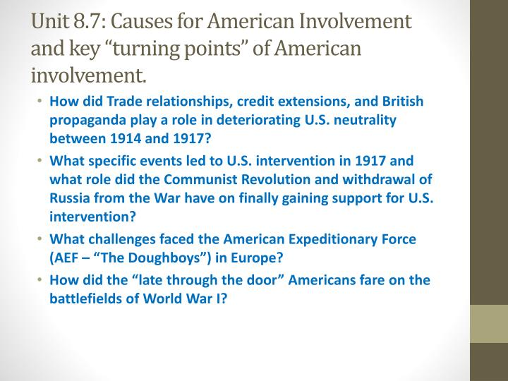 "Unit 8.7: Causes for American Involvement and key ""turning points"" of American involvement."