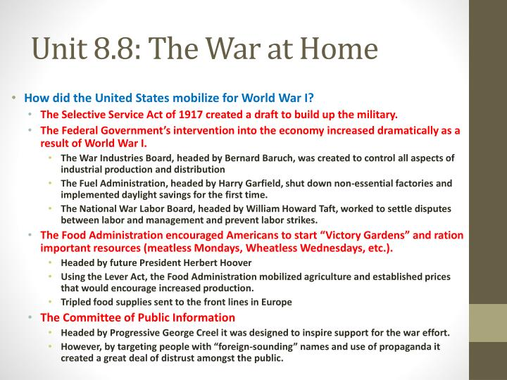 Unit 8.8: The War at Home