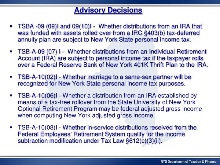 Advisory Decisions