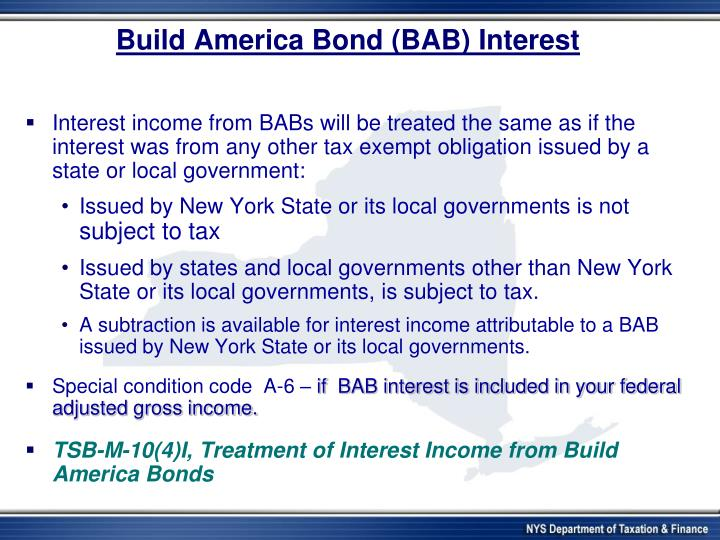 Build America Bond (BAB) Interest
