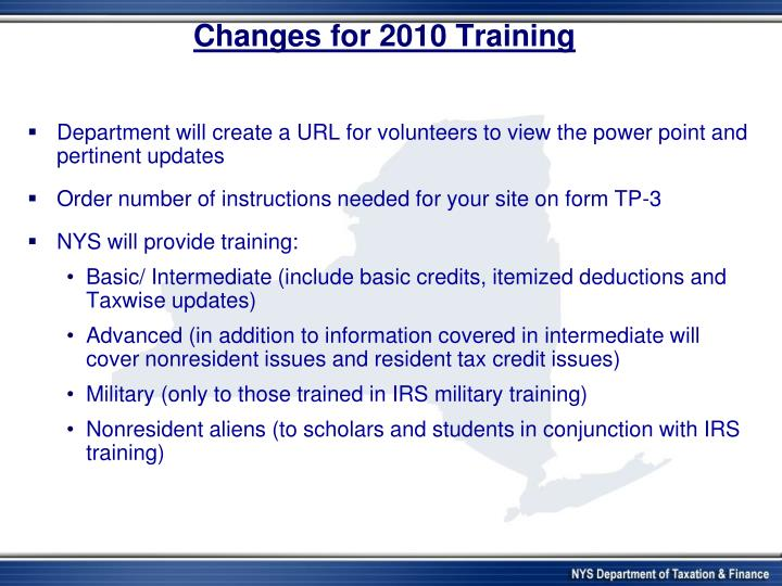 Changes for 2010 Training