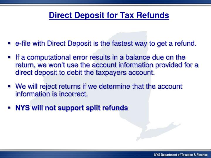 Direct Deposit for Tax Refunds
