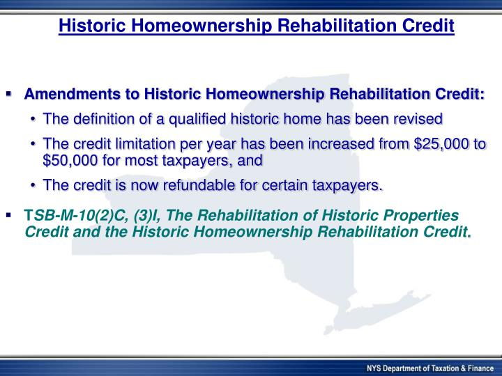Historic Homeownership Rehabilitation Credit