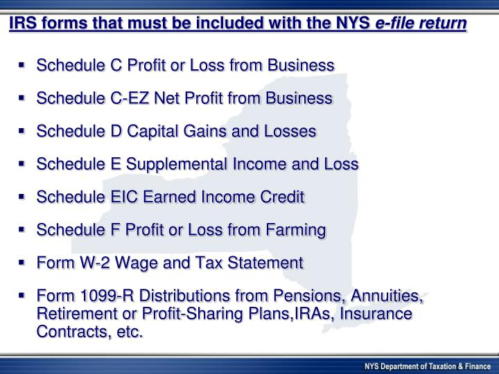 IRS forms that must be included with the NYS