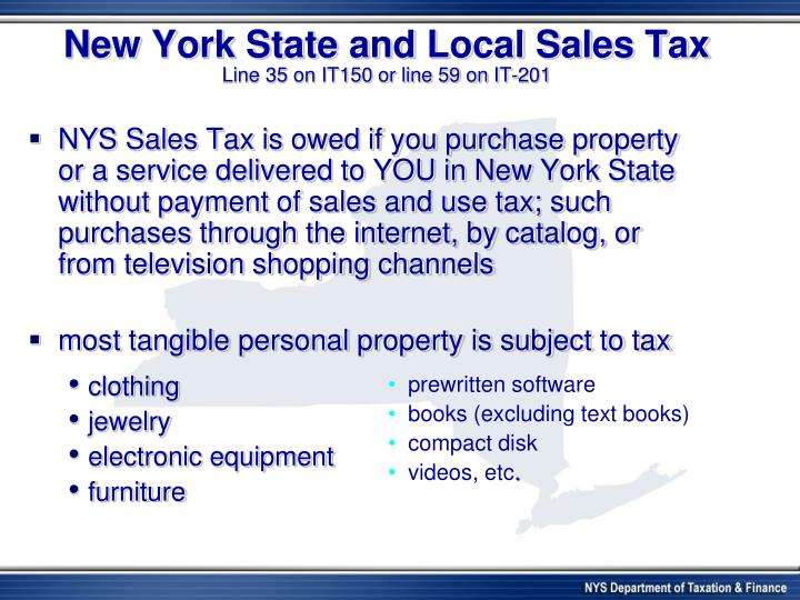 New York State and Local Sales Tax