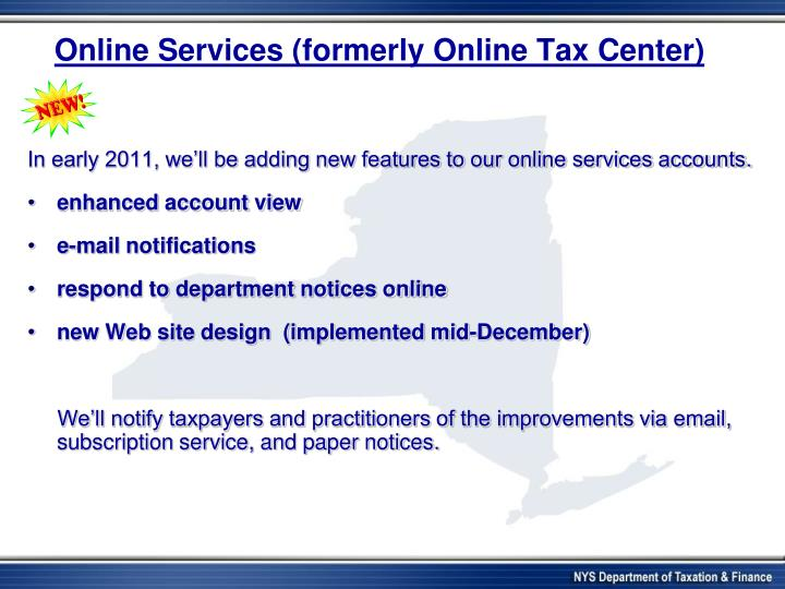 Online Services (formerly Online Tax Center)