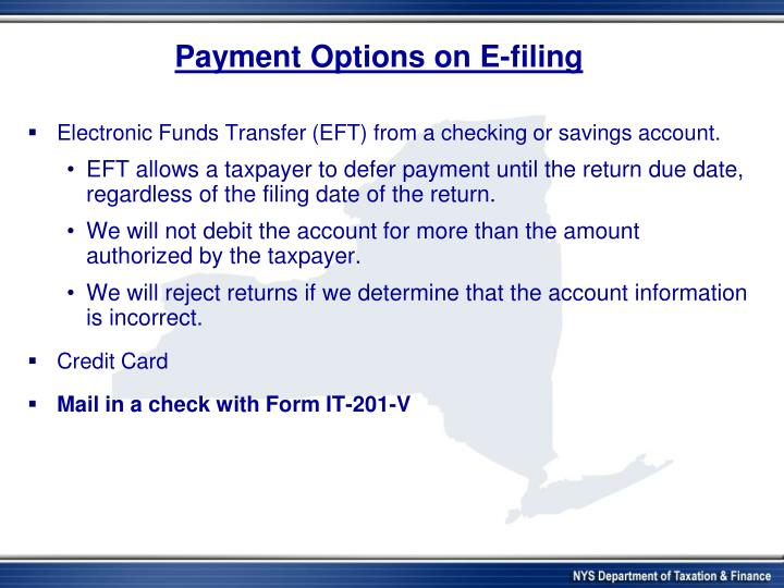 Payment Options on E-filing