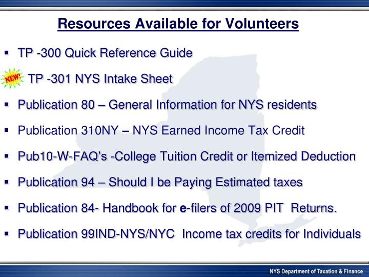 Resources Available for Volunteers