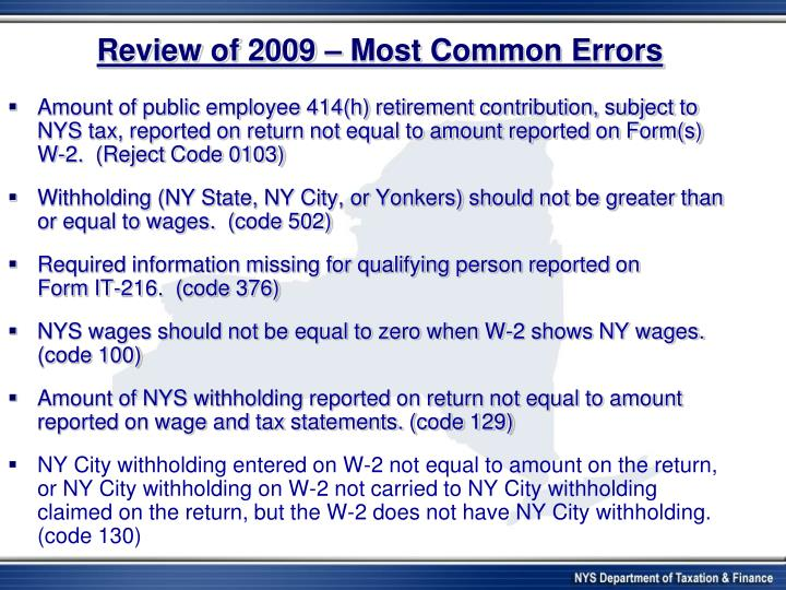 Review of 2009 – Most Common Errors