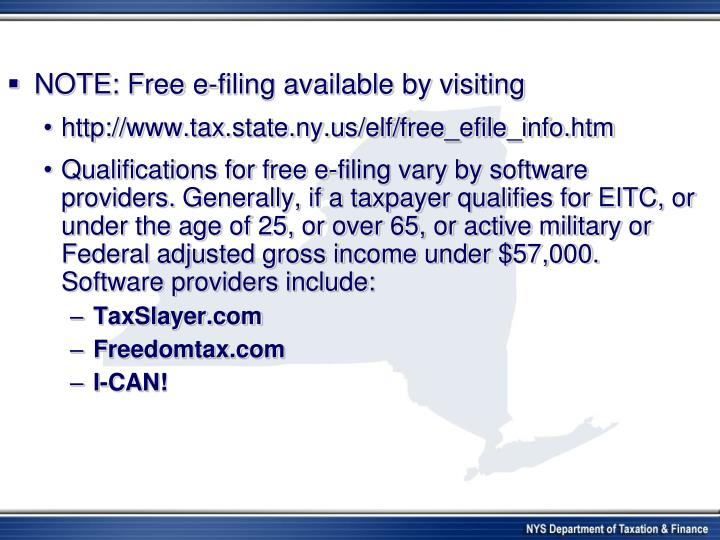 NOTE: Free e-filing available by visiting