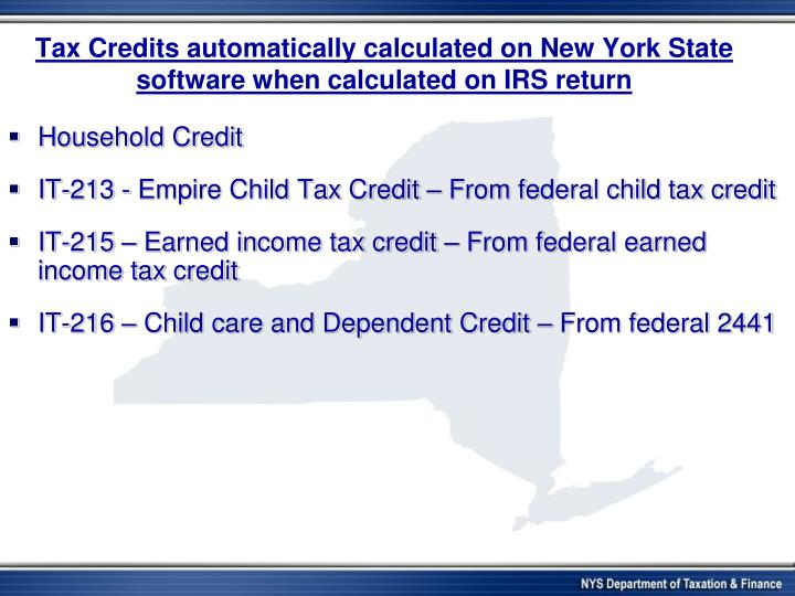 Tax Credits automatically calculated on New York State software when calculated on IRS return