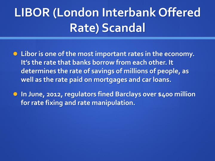 libor rate manipulation Libor rate manipulation essay sample bank of england official: loss as for the excessive income of bankers, central bank official said that libor rate manipulation scandal was a turning point, and.