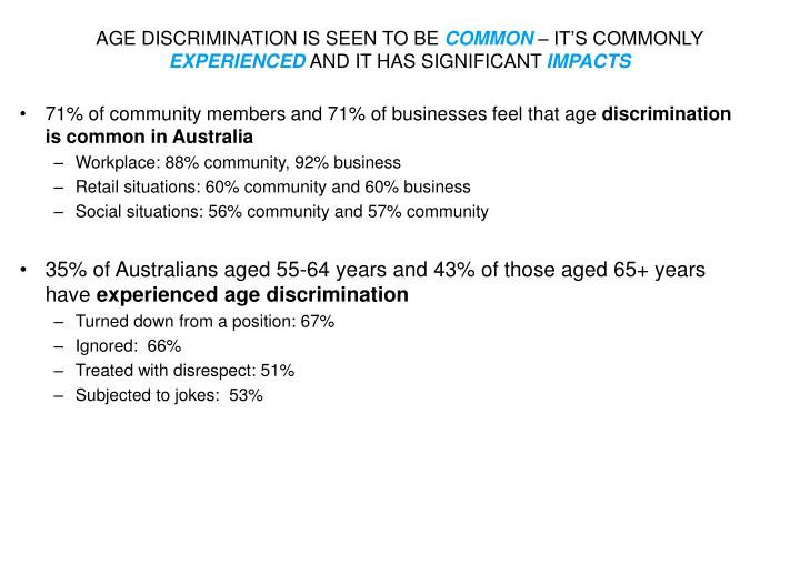 age discrimination is seen to be