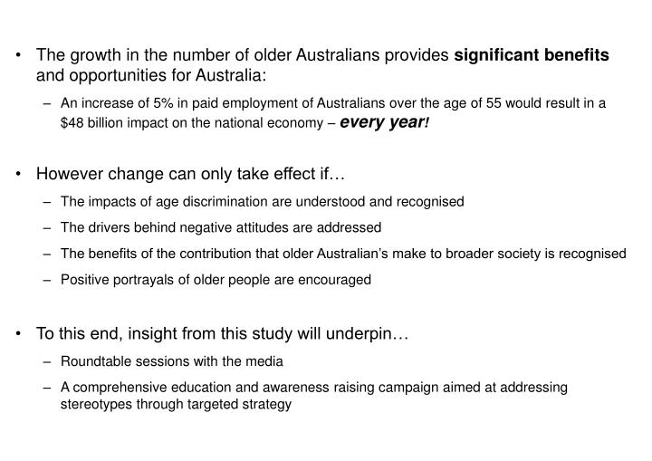 The growth in the number of older Australians provides