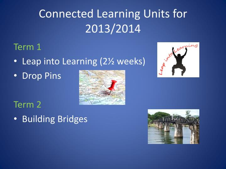 Connected Learning Units for 2013/2014
