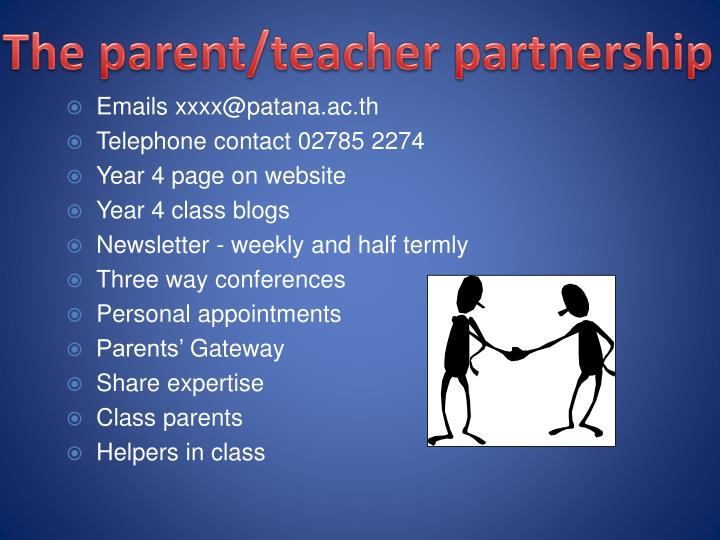The parent/teacher partnership