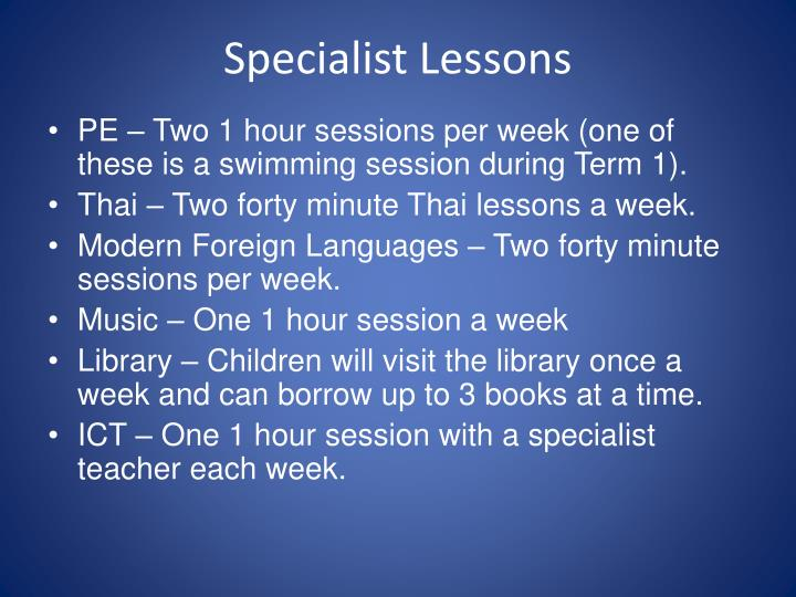 Specialist Lessons