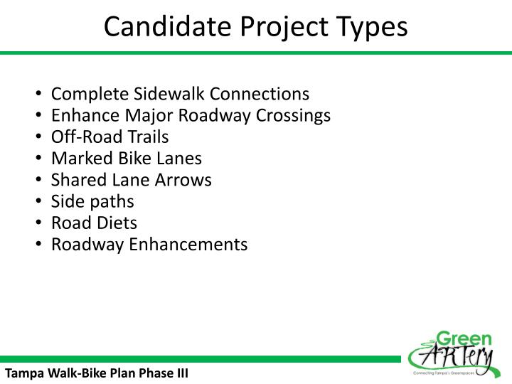 Candidate Project Types