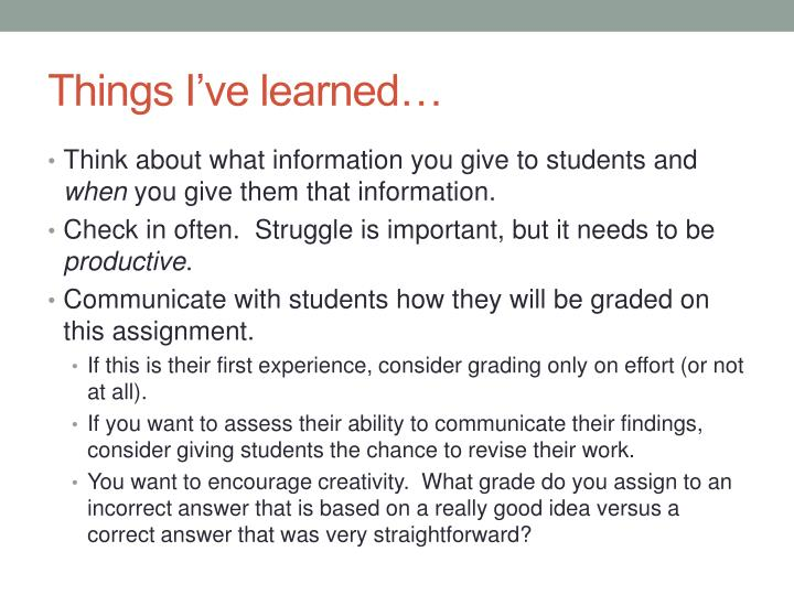 Things I've learned…