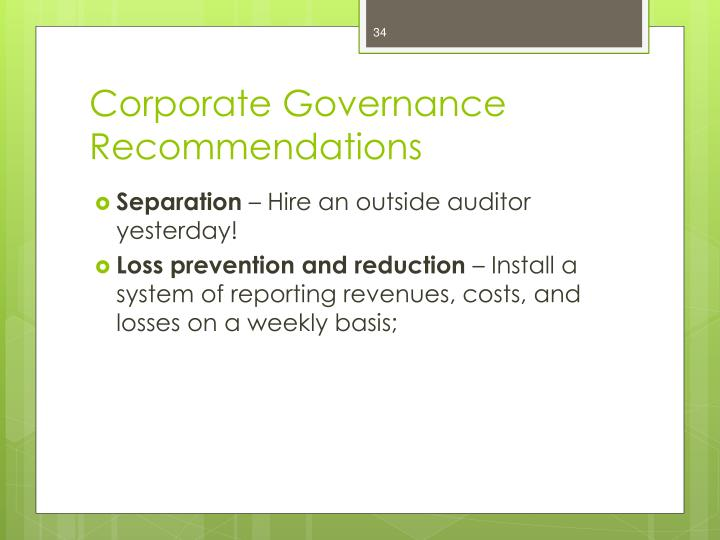 Corporate Governance Recommendations