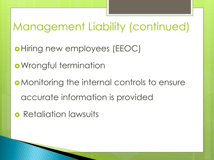 Management Liability (continued)