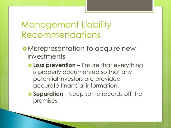 Management Liability Recommendations