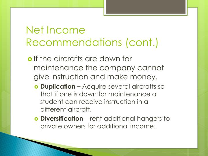 Net Income Recommendations (cont.)