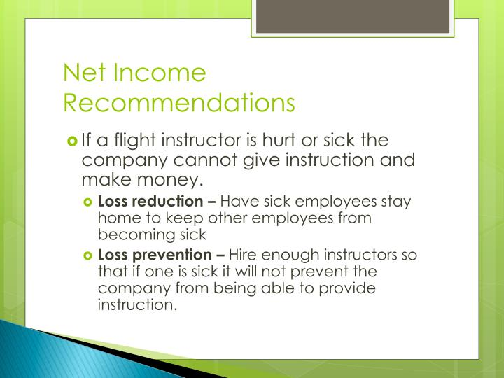Net Income Recommendations