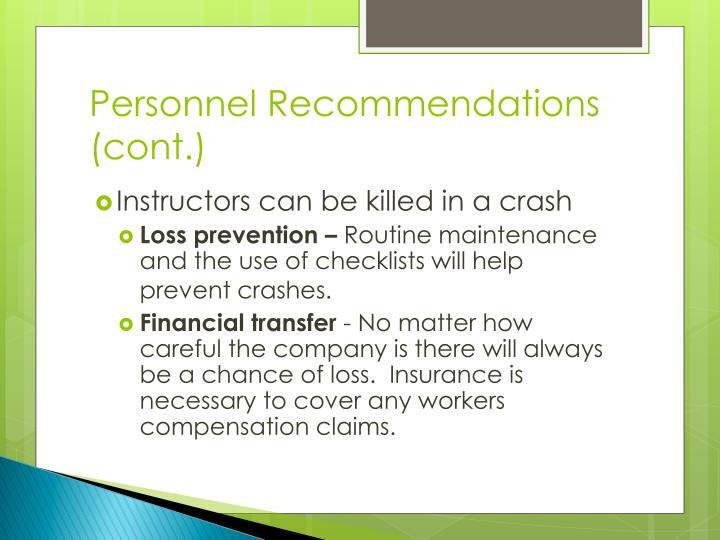 Personnel Recommendations (cont.)