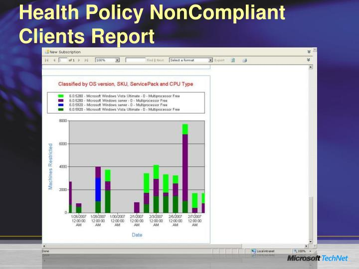 Health Policy NonCompliant Clients Report