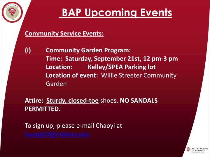 BAP Upcoming Events
