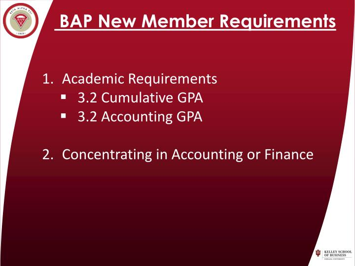 BAP New Member Requirements