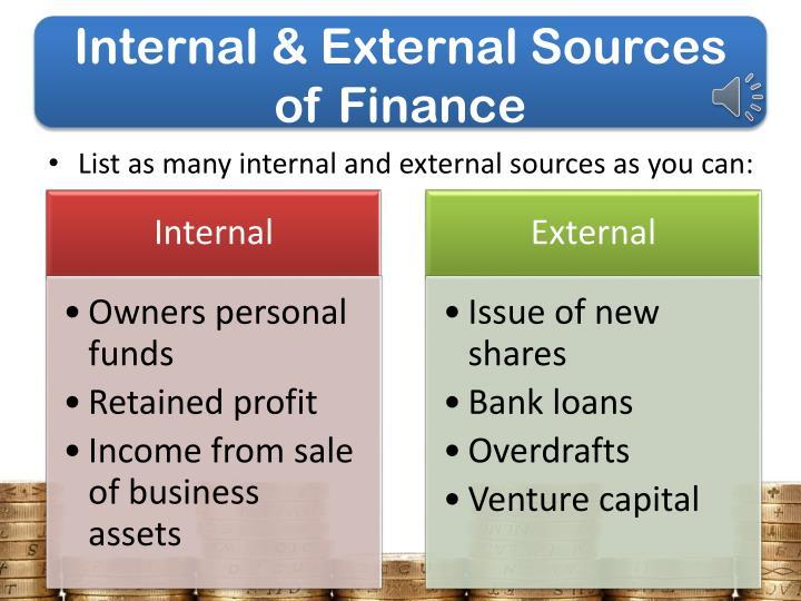 Internal & External Sources of Finance