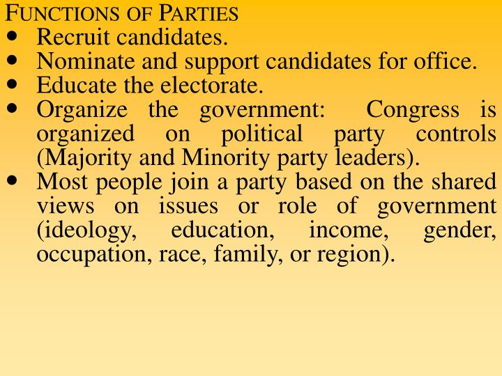 Functions of Parties