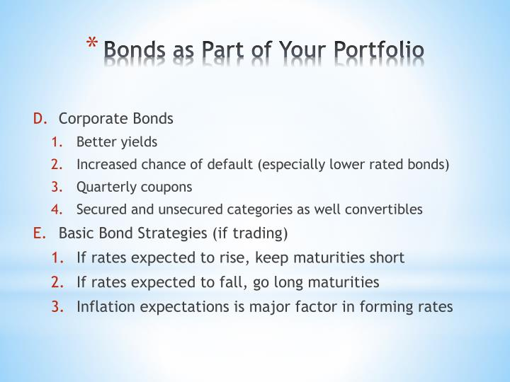 Bonds as Part of Your Portfolio