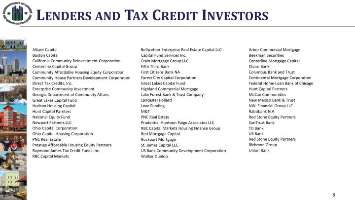 Lenders and Tax Credit Investors